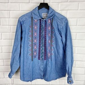 Embroidered Denim Button Down Long Sleeve Shirt M